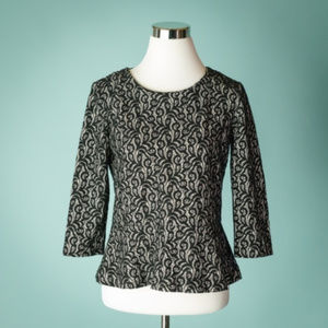 J Crew XS Black Peplum Lace Knit 3/4 Sleeve Top
